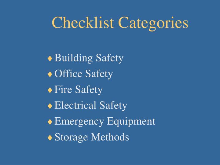 Checklist Categories
