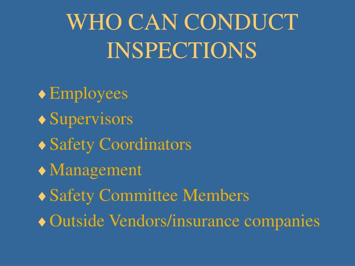 WHO CAN CONDUCT INSPECTIONS