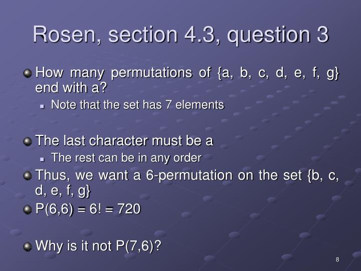 Rosen, section 4.3, question 3
