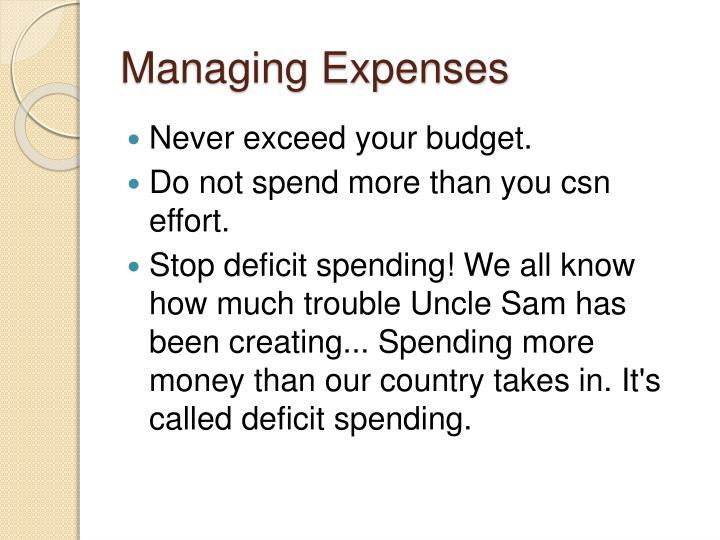 Managing Expenses