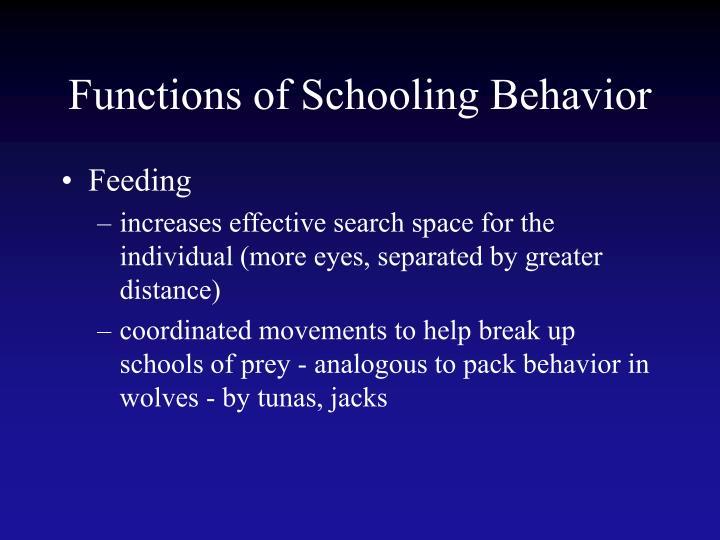 Functions of Schooling Behavior