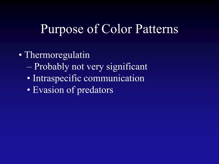 Purpose of Color Patterns