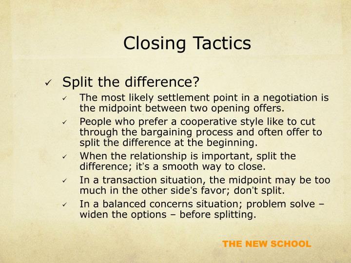 Closing Tactics