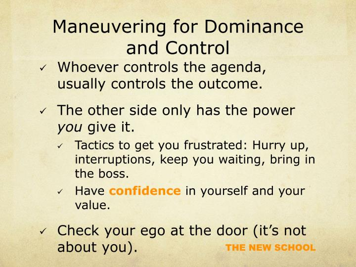 Maneuvering for Dominance and Control