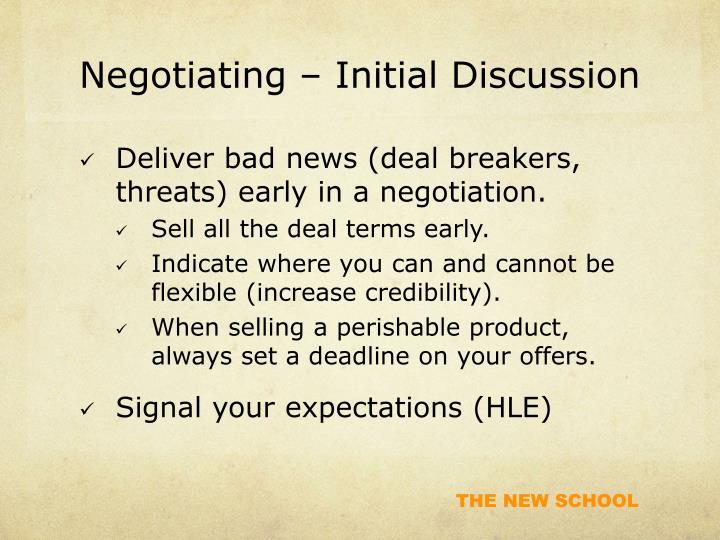 Negotiating – Initial Discussion