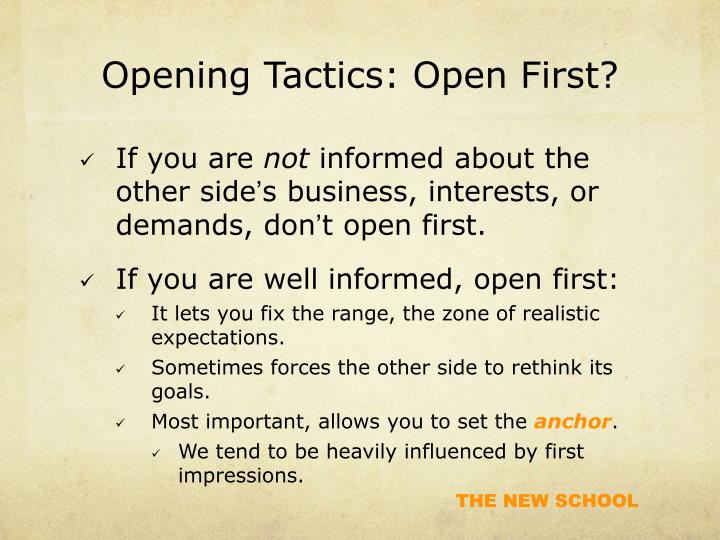Opening Tactics: Open First?