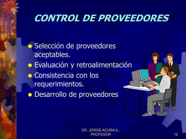 CONTROL DE PROVEEDORES
