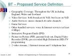 bt proposed service definition