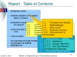 report table of contents