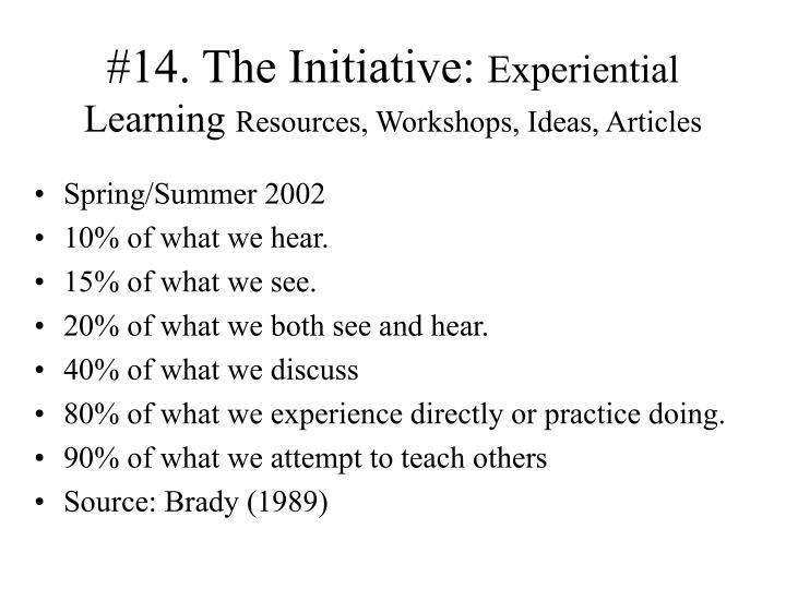 #14. The Initiative:
