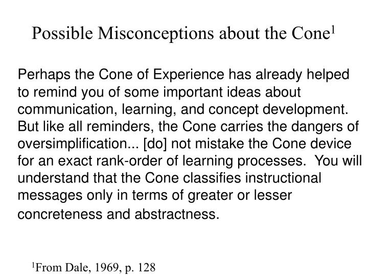 Possible misconceptions about the cone 1