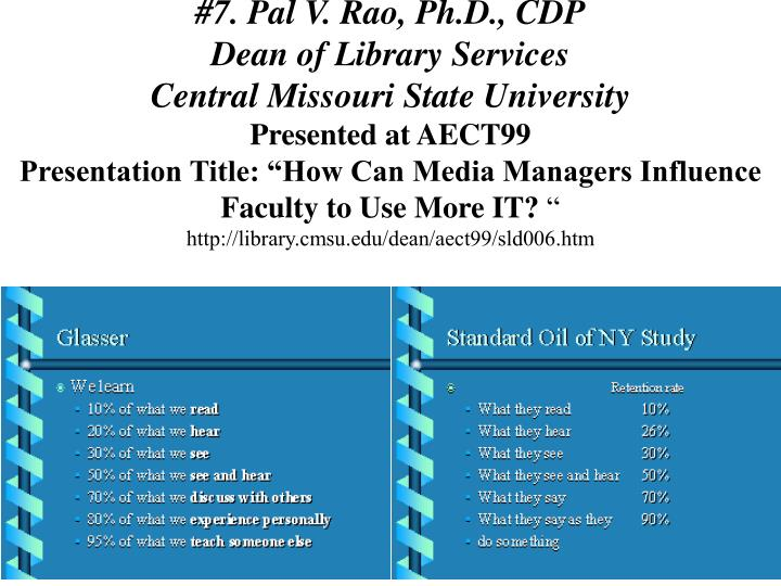 #7. Pal V. Rao, Ph.D., CDP