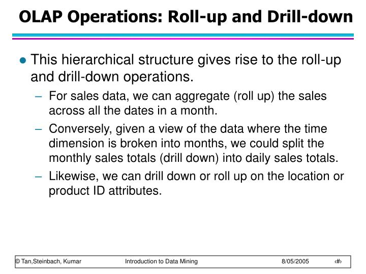 OLAP Operations: Roll-up and Drill-down