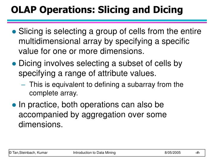 OLAP Operations: Slicing and Dicing