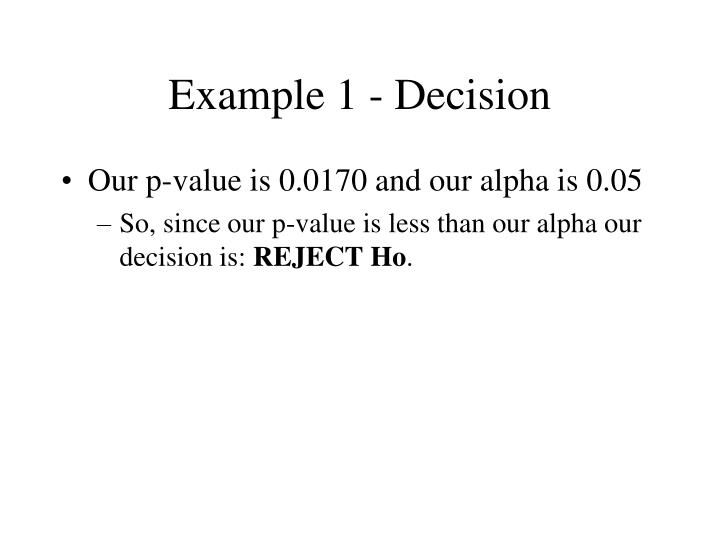 Example 1 - Decision