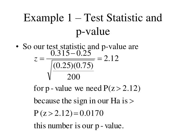 Example 1 – Test Statistic and