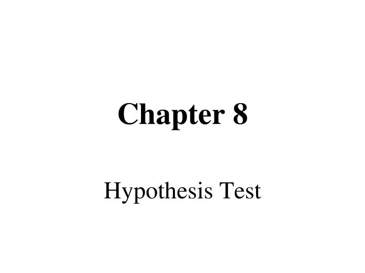 Hypothesis test