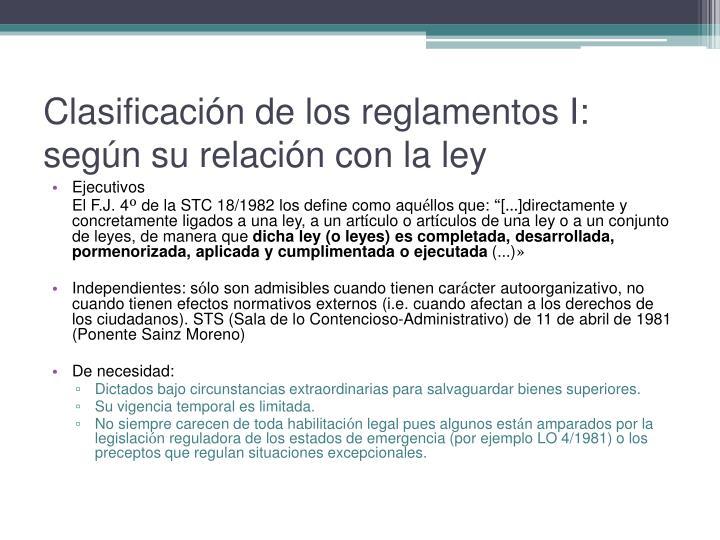 Clasificación de los reglamentos I: según su relación con la ley