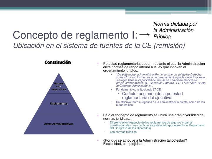 Concepto de reglamento I: