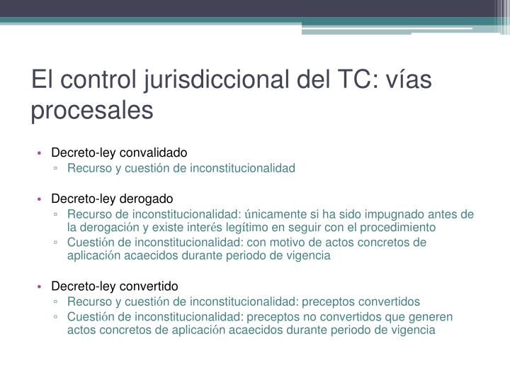 El control jurisdiccional del TC: vías procesales