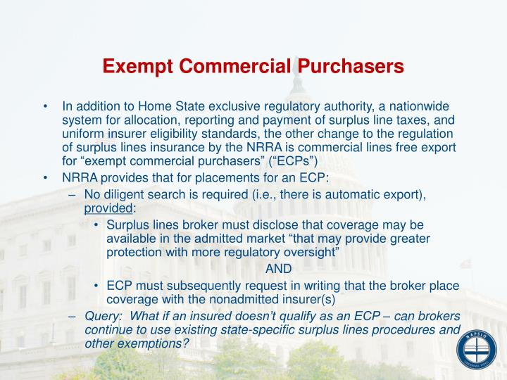 Exempt Commercial Purchasers
