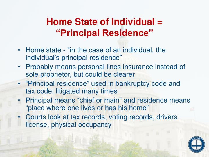Home State of Individual =