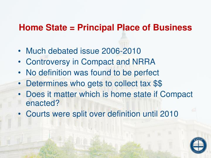 Home State = Principal Place of Business