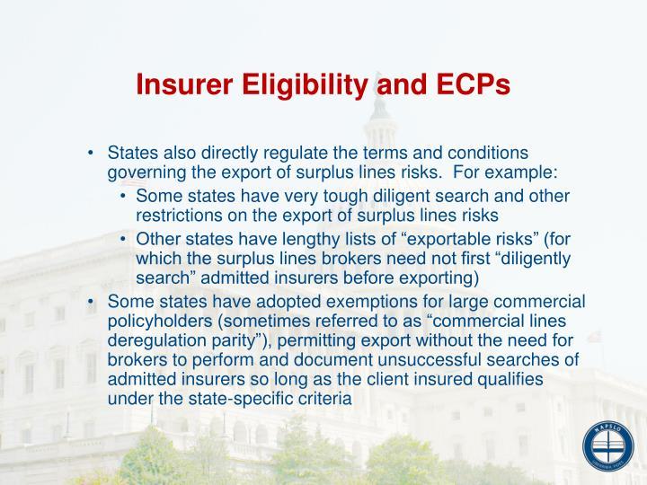 Insurer Eligibility and ECPs