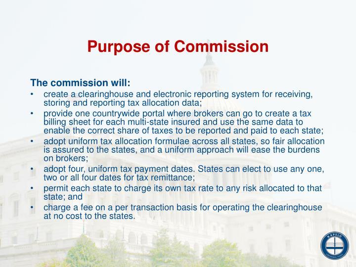 Purpose of Commission
