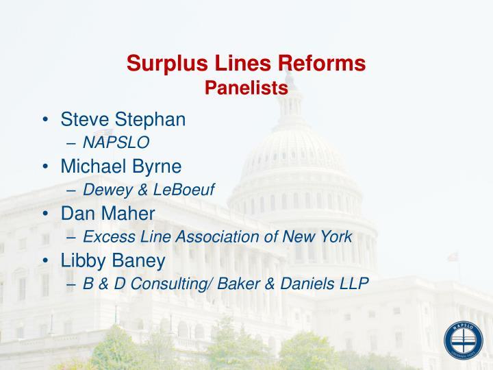 Surplus lines reforms panelists