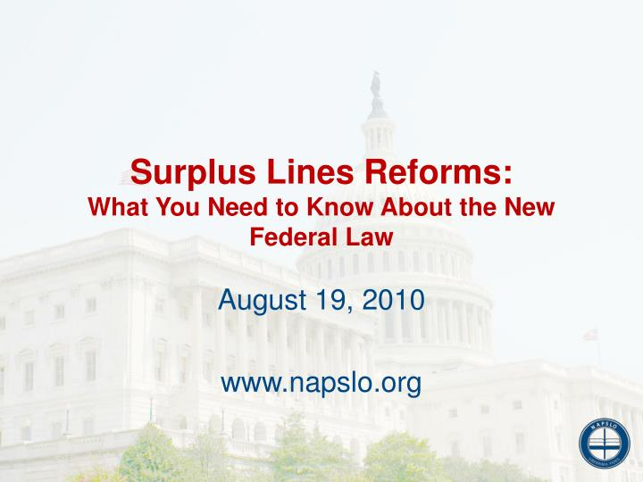 Surplus Lines Reforms: