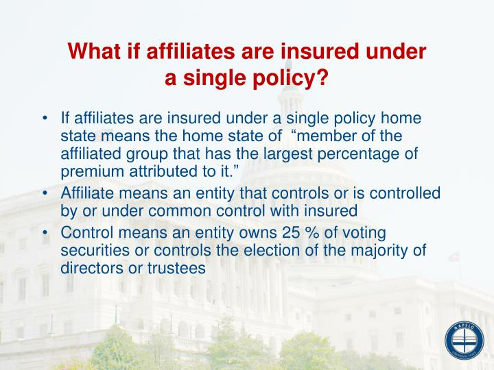 What if affiliates are insured under