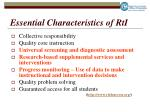 essential characteristics of rti
