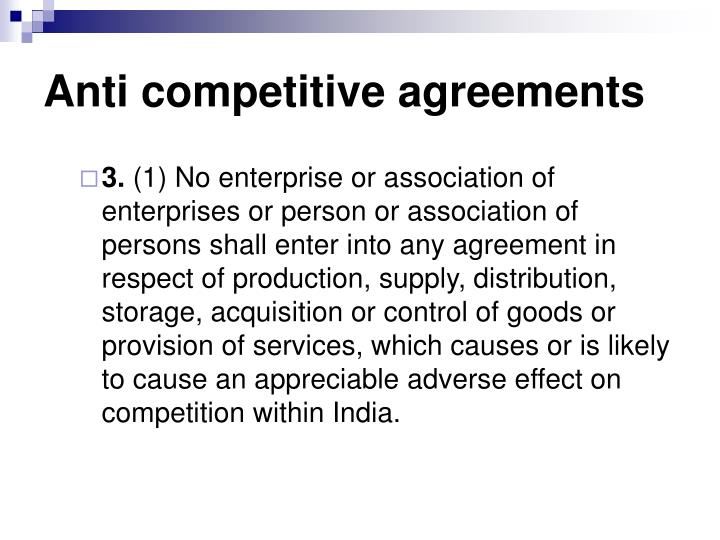 Anti competitive agreements