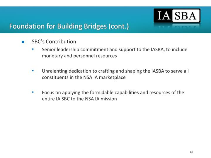 Foundation for Building Bridges (cont.)