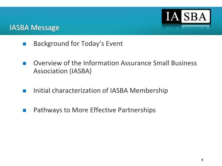 IASBA Message