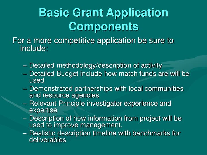Basic Grant Application Components