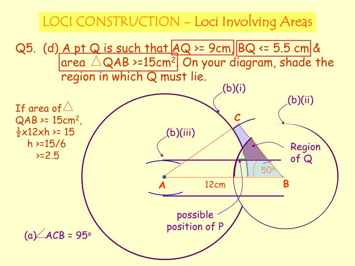 If area of    QAB >= 15cm