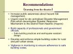 recommendations learning from the disaster