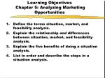 learning objectives chapter 5 analyzing marketing opportunities