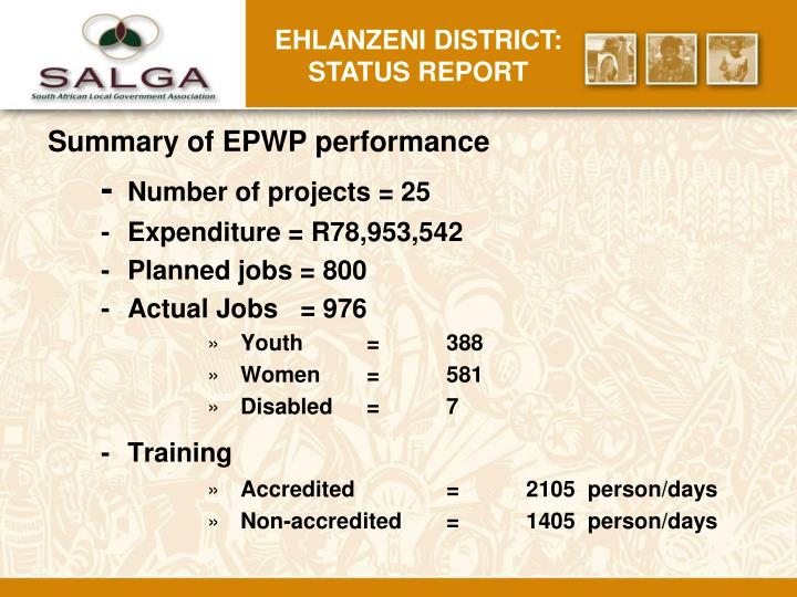 Ehlanzeni district: status report