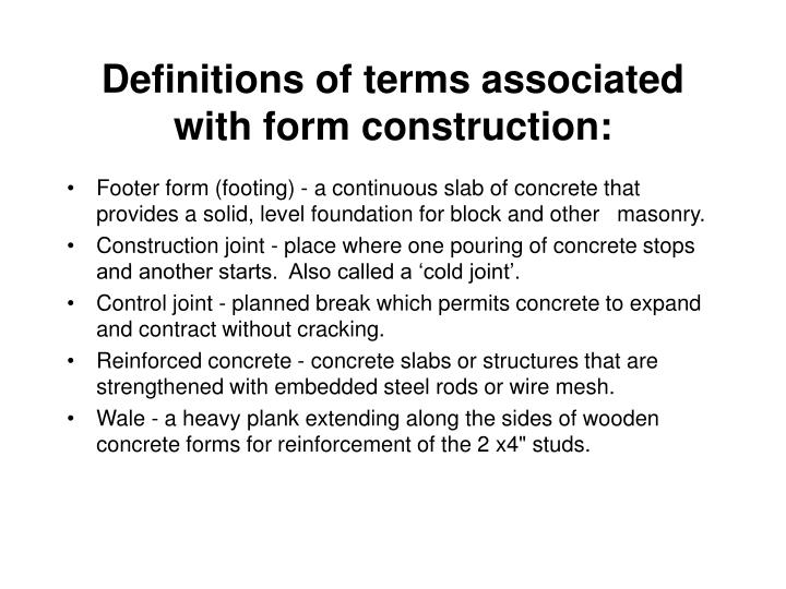 Definitions of terms associated with form construction