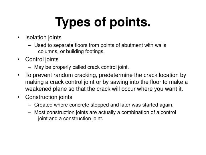 Types of points.