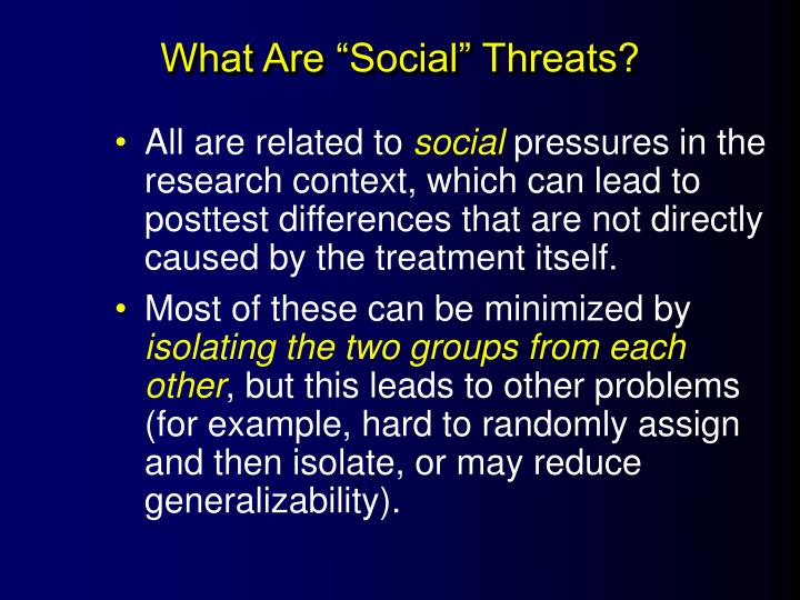 """What Are """"Social"""" Threats?"""