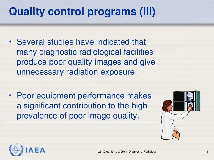 Quality control programs (III)