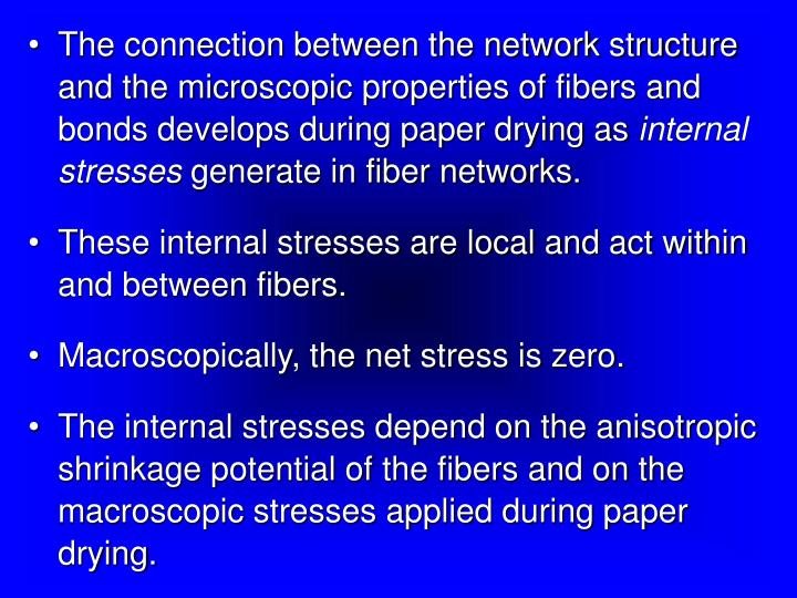 The connection between the network structure and the microscopic properties of fibers and bonds develops during paper drying as