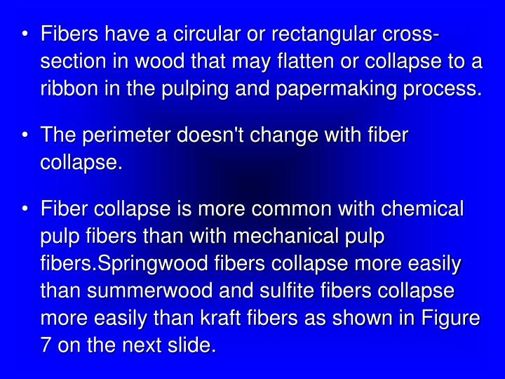 Fibers have a circular or rectangular cross-section in wood that may flatten or collapse to a ribbon in the pulping and papermaking process.