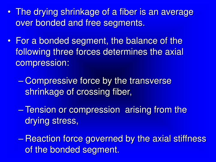 The drying shrinkage of a fiber is an average over bonded and free segments.