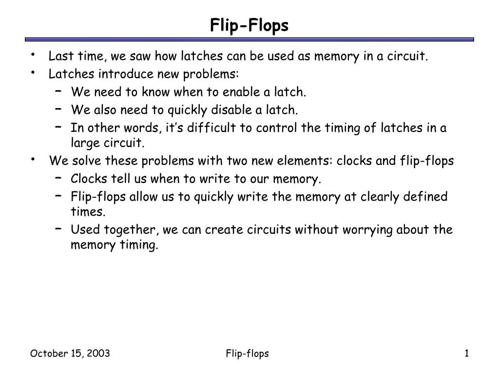 Ppt Flip Flops Powerpoint Presentation Id1273763 Digital Touch Switch Circuit Using Jkflipflop As Rsflip Flop N