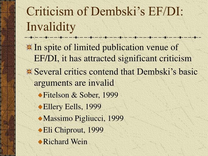 Criticism of Dembski's EF/DI: Invalidity